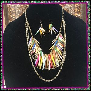 Funky colorful 3 tier necklace and earrings set